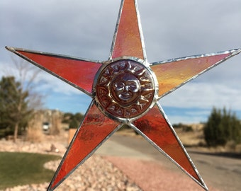 Stained Glass Orange Star Suncatcher