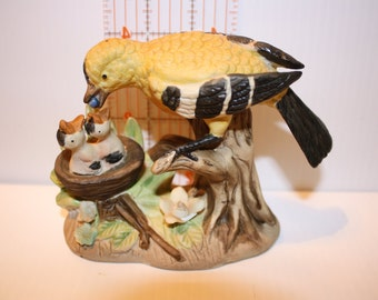 Momma Bird Feeding Her Young Figuring - Porcelain Yellow & Black Bird Family