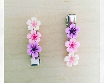 Little girls 3 Pink flowers crocodile hairslide
