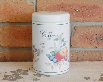 Brabantia 1980s Belgian coffee tin fruit motif, housewarming gift