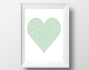 Heart Wall Art, Mint Nursery, Mint Decor, Heart Print, Nursery Printable, Mint Green, Nursery Decor, Hearts, Chevron Decor