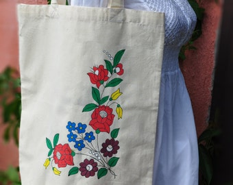 Hand painted canvas bag with traditional pattern