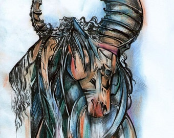 Indian horse. Painting with Indian horse.Painting with ink and pastel.