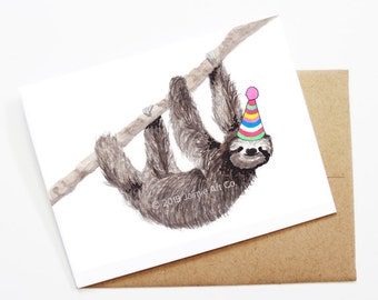 Birthday Card - Sloth, Animal Birthday, Animal Card, Cute Greeting Card, Kids Birthday Card, Baby Birthday Card, Blank Sloth Card