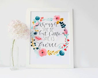 Watercolor Quote Painting/ Shakespeare Art/ She Is Fierce 5x7