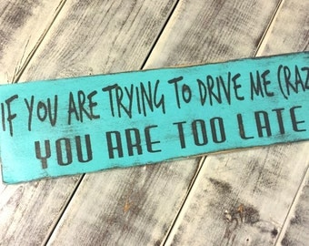 If you are trying to drive me crazy, you are too late