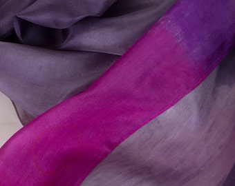 Silk scarf Magenta line Hand Painted silk scarf shawl Lavender scarf painted in abstract style Dark shawl scarf painted Puple grey  scarf