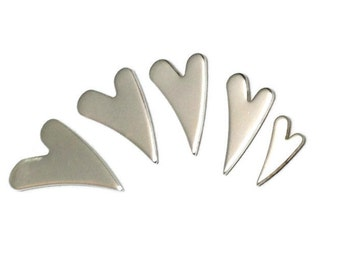 Sterling Silver Wonky Heart Blank | Silver stamping Blank| Various sizes| Jewellery making