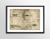 X wing Blue Prints -  3 t...