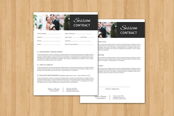 Items Similar To Session Contract Form For Photographer