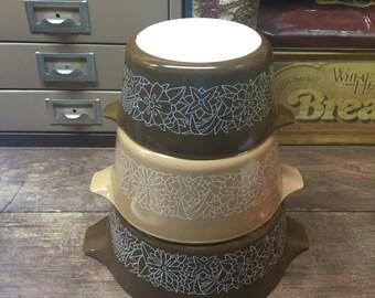 Vintage Pyrex Woodland Browns nesting bowls Floral Set of 3 Bowls Bakeware