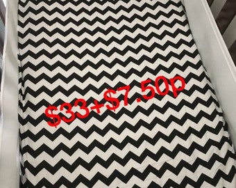 Chevron print cotton cot fitted sheets