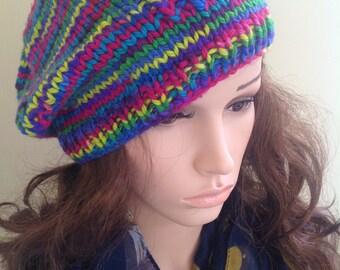 Slouchy tam, chunky beret , hand dyed yarn , Chunky beanie, floppy beret.