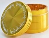 GrindTex - The One Ring - Engraved Metal Herb Grinder - 4 piece Herb grinder - Free Crystal Brush