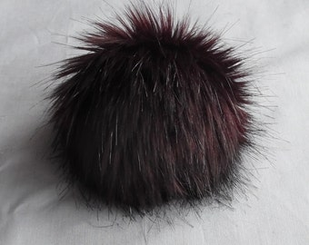 Size XL (red brown wine) faux fur pom pom 6 inches /15 cm