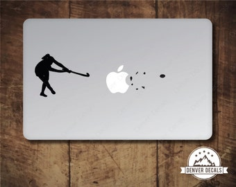 Girl Field Hockey Sticker MacBook Decal Blasting the Apple Sports Mac Vinyl Black Matte for 13 and 15 inch models - Female