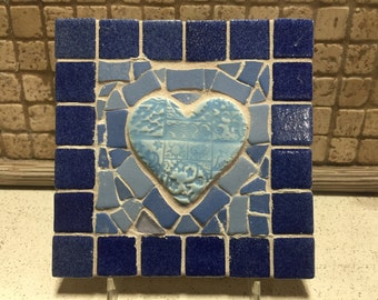Mosaic Blues Handmade Heart Trivet