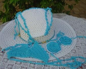 Crochet for baby girl bikini set, 3 PCs white and turquoise, single, crochet crochet bikini girl swimsuit, made in Italy. OOAK Art. 52