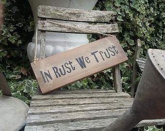 Handmade Shabby Chic VW Gift Plaque Sign Home Van Camper In Rust We Trust