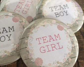 Gender Reveal, Team Boy, Team Girl, Bridal Shower Game, Bridal Shower Favor, Bridal Shower Buttons, Gender Reveal Game, Gender