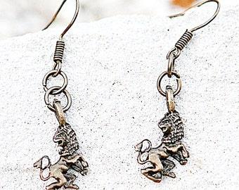 Lion Earrings Astrology jewelry Zodiac jewelry Leo Earrings Lion jewelry Zodiac sign  horoscopic  jewelry Leo jewelry Sun Sign