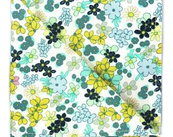 Blue yellow floral pocket square, Mens green blue flower handkerchief, wedding accessories