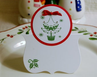 Christmas place card/Tree with bow/set of six