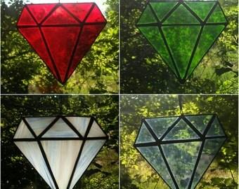 Stained Glass Diamond Gemstones Sun Catcher