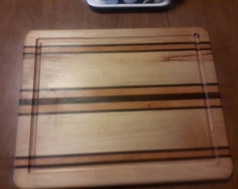 Homemade Maple with cherry , and walnut stripes wooden / wood cutting board with juice groove ( Reversible ) nice gift for any occasion!