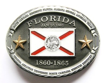Florida FL State Flag Metal Fashion Belt Buckle