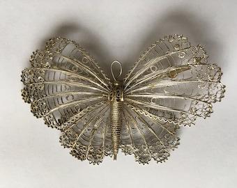 Large Silver Filigree Butterfly brooch