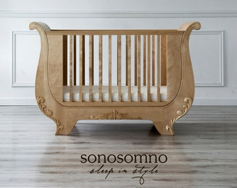Cot Bed, Solid Birch Wood, Nursery Furniture, Luxury Furniture, Safety  Certified,