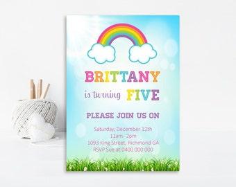 Rainbow Invitation, Rainbow Party, Rainbow Birthday Invitation, Rainbow Invite, Printable Invitation, First Birthday Invitation, Rainbow
