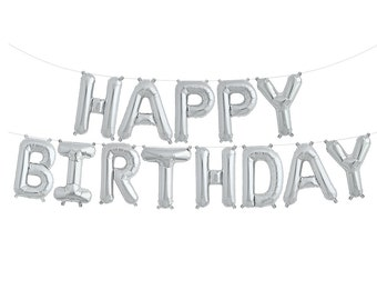 Silver Happy Birthday Balloon Banner | Happy Birthday Banner Birthday Party Decor Party Balloons Party Banner Sweet 16 First Birthday 16""
