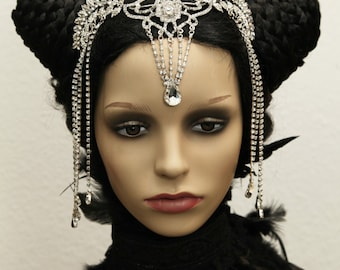 Crystal rhinestone vampire Elf elven LARP tiara headband Crown Frontlet tiara wedding