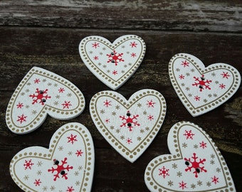 French buttons, heart shape buttons, christmas buttons, 2 hole buttons, scrapbooking buttons, lot buttons, wooden buttons, scrapbook