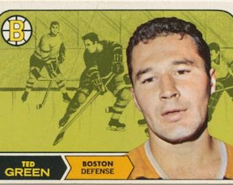 Ted Green 1968 Topps #4 Boston Bruins Hockey Card