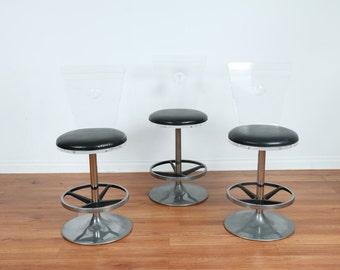 vintage haziza lucite bar stools