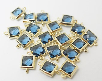 G002411/Montana/Gold plated over brass/Sqaure faceted glass Connector/7x11mm/2pcs
