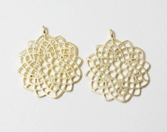 P0454/Anti-tarnished Matte Gold Plating Over Brass /12 Sided Polygon Pendant /19X22mm/2pcs