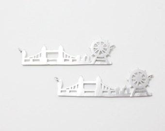P0232/Anti-Tarnished Matte Rhodium Plating Over Brass/London Cityscape Sideways Pendant,tower bridge Pendant,london eye pendant/40x14mm/2pcs