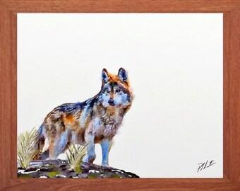 Wolf painting, Wildlife watercolour, wildlife wall art, digital print.