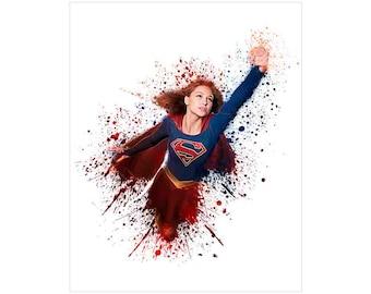 Supergirl Print, Melissa Benoist, INSTANT DOWNLOAD, TV Show Poster, Supergirl Splatter Art, Digital Wall Art.