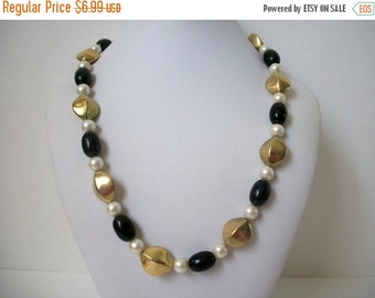 ON SALE Vintage Signed Marvella Black Faux Pearl Distressed Gold Tone Beaded  Necklace 859