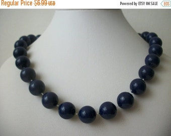 ON SALE Vintage Single Strand Individual Knotted  Blue Beaded Plastic Necklace 238