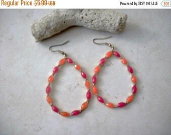 ON SALE Vintage Bejeweled Over Sized Hoop Earrings 91416