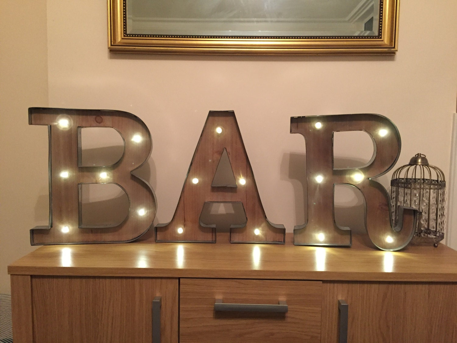 Freestanding bar wooden rustic led light up letters