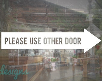 Store Business Please Use Other Door Arrow Sign Vinyl Decal