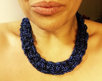 Black and Black African Beaded Necklace