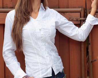 NACHI Organic Cotton Nautical Embroidery Organza lace Long Sleeves Fitted Blouse